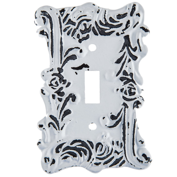 Distressed White Fancy Single Metal Switch Plate Hobby Lobby 1204148